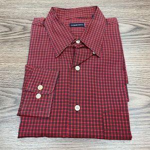 Gitman Bros Red, Black & Gold Plaid Shirt L